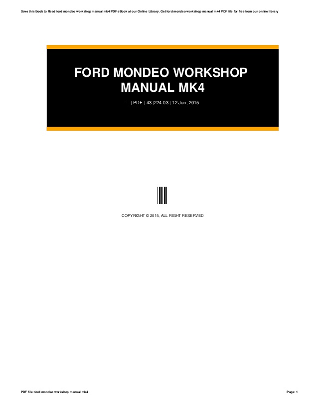 Ford Mondeo Workshop Manual Free Download Everindustrial